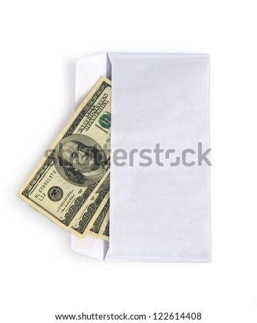 Money in envelope isolated on white, clipping path inside.