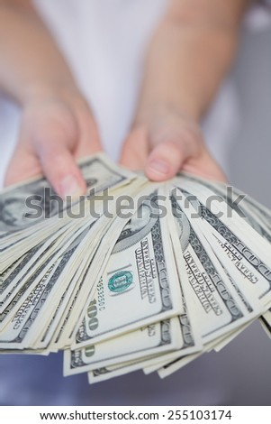 Money in female hands