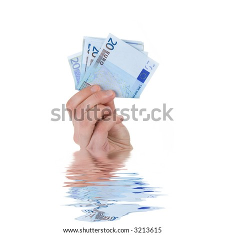 money in hand a over white background - water reflection - stock photo