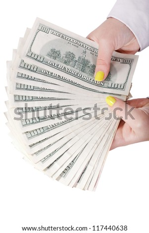 Money in hand isolated on white background - stock photo