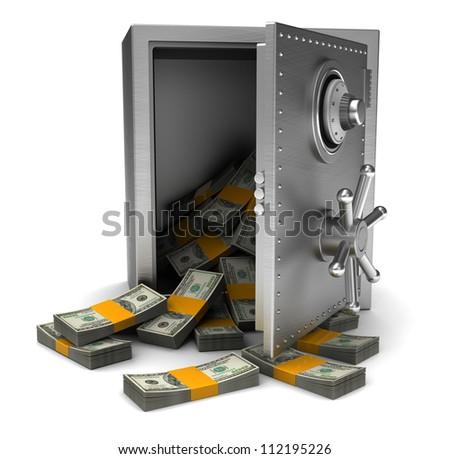 Money Open Safe Isolated On White Stock Illustration 112195226 ...