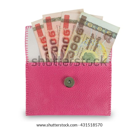 Money in pink wallet isolated on whiteground - stock photo