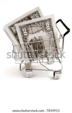 money in shopping cart - stock photo