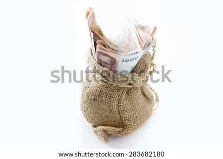 Money in the bag isolated on a white background - stock photo