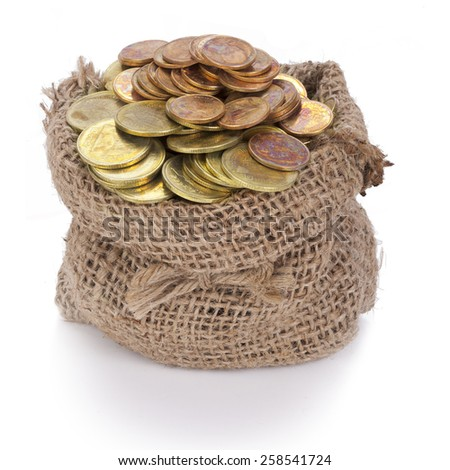 Money in the bag isolated on a white background. This has clipping path. - stock photo
