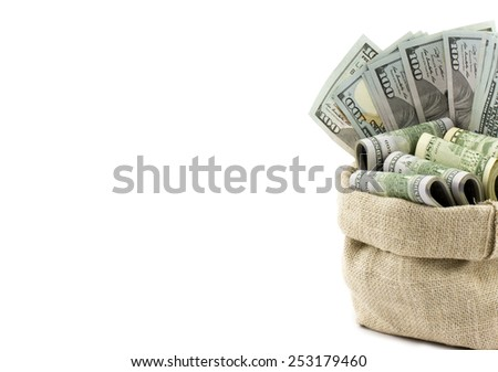 Money in the bag isolated on a white background with place for your text - stock photo