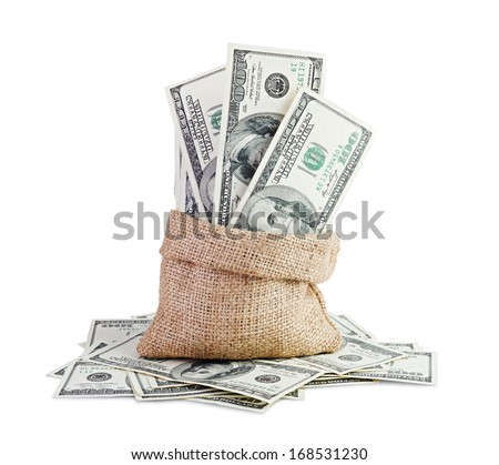 Money in the bag isolated on white background