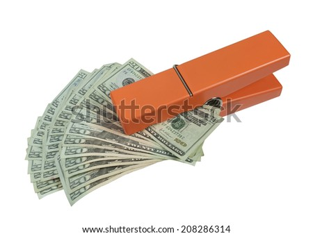 Money in the form of many large bills with a glass bulb inflating the image - path included - stock photo