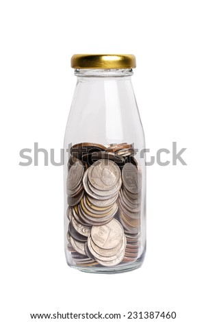 money in the glass bottle isolate on white background