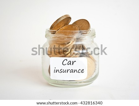 Money in the Glass jars with labele Car insurance. Automobile collision damage waiver concepts. with protective gesture and icon of car. Protection of car. Business concept. - stock photo