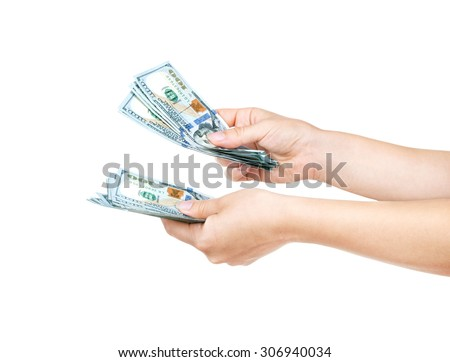 Money in the hand (Hand with money, Hand holding Banknotes) - stock photo