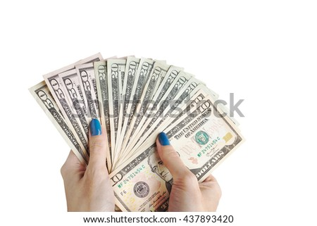 Money in the hand, Hand with money, Hand holding Banknotes and counting for give or pay bill, can use as financial or business on white background - stock photo