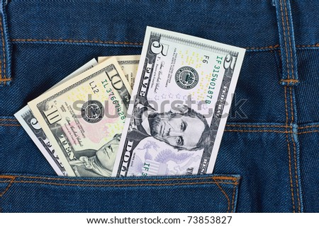 Money in the pocket  blue jeans