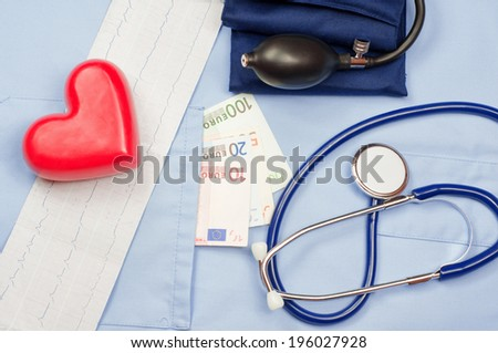 Money in the pocket of a medical uniform, heart, electrocardiogram, stethoscope and sphygmomanometer - stock photo
