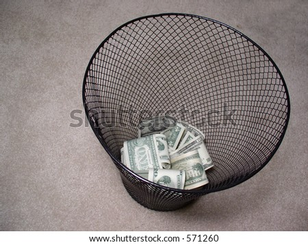 Money in trash basket