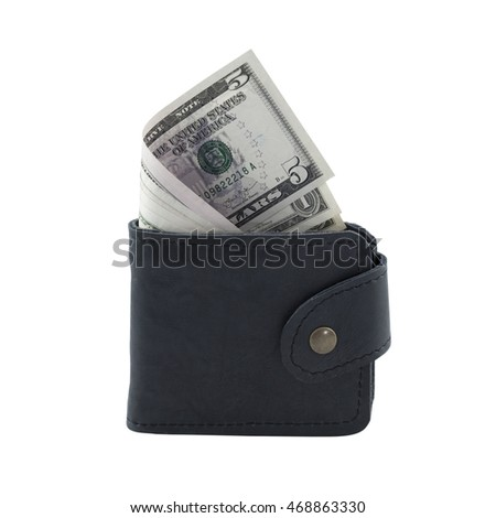 Money in wallet isolated on white background - clipping path
