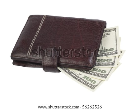 money in wallet,isolated on white with clipping path - stock photo