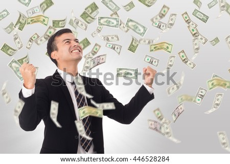 Money increase .Businessman happiness after got good growing income in his business. - stock photo