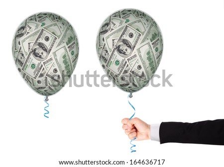 Money investment concept - balloon full of  dollars
