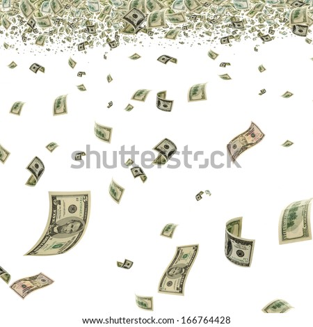 Money is flying in the air. - stock photo
