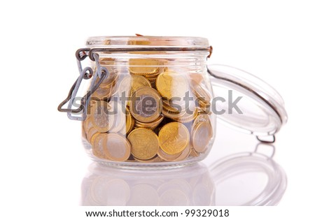 Money jar, isolated over white background - stock photo