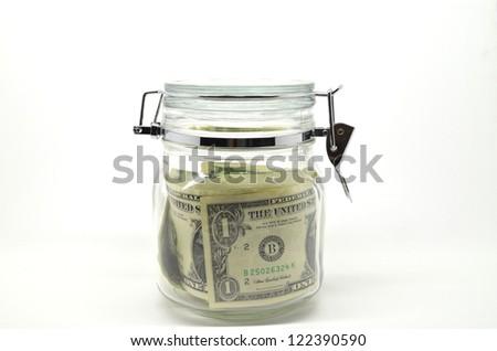 money kept lock in the jar, concept for savings - stock photo