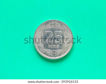 Money - 25 Kurus coin of Turkey