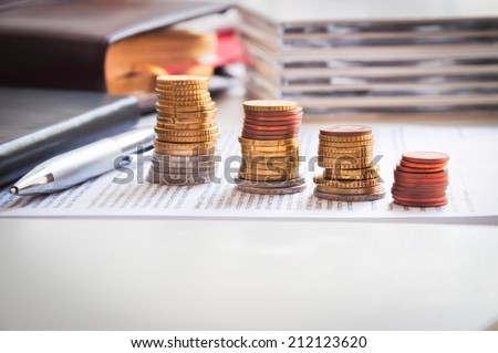 Money ladder or financial growth concept - stock photo