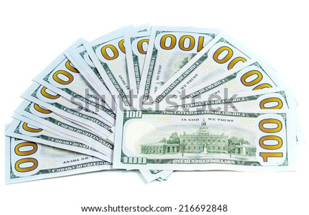 Money laid out like a fan back side isolated on white background - stock photo