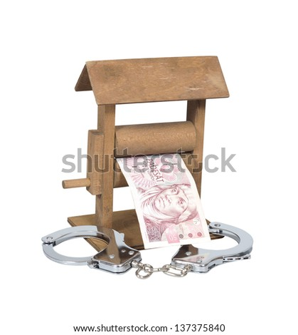 Money laundering. Czech Koruna bill in the wringer with handcuffs isolated over white, clipping path included. - stock photo