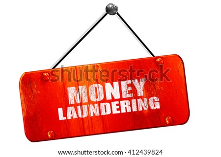 money laundering, 3D rendering, vintage old red sign - stock photo