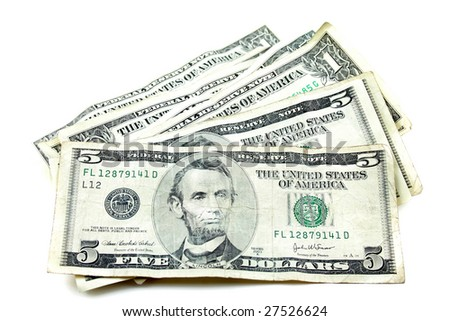 money laying on a white background. - stock photo