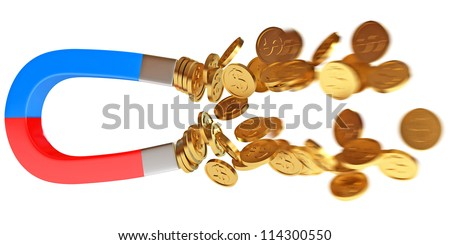 Money magnet with dollar coins. Conceptual illustration. Isolated on white background. 3d render - stock photo
