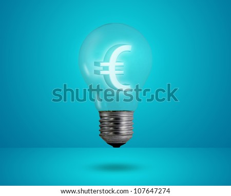 Money making idea. Light bulb with Euro symbol. - stock photo