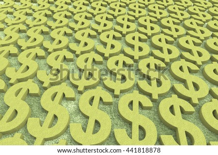 Money Making / US Dollar Currency in Gold  / 3D Rendering