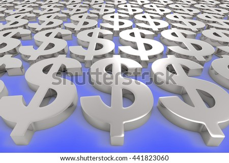 Money Making / US Dollar Currency in Silver  / 3D Rendering