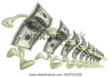 Money Man 3D Illustration - stock photo