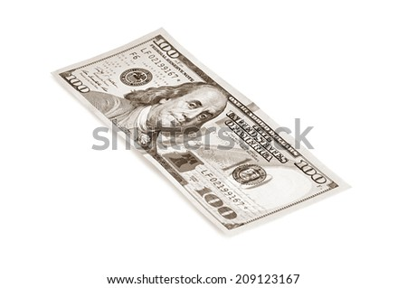 Money - new 100 American bill with sepia color effect on white background