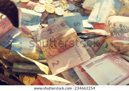 money of different denominations and different countries  - stock photo