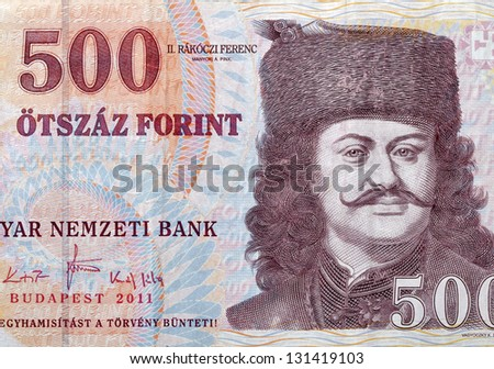money of Hungary 500 forint macro with portrait of prince sovereign Ferenc II Rakoczi by Adam Manyoki