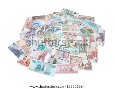 Money of the different countries isolated on a white background. - stock photo