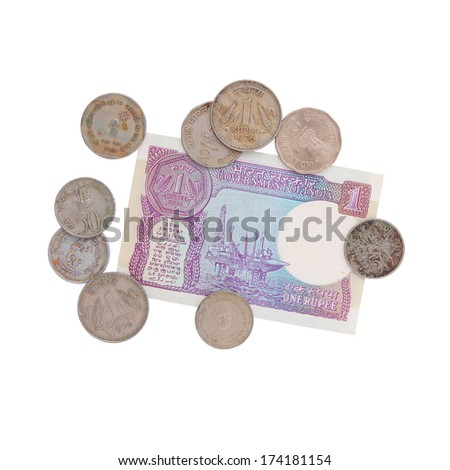Money - old Indian rupees - collection - stock photo