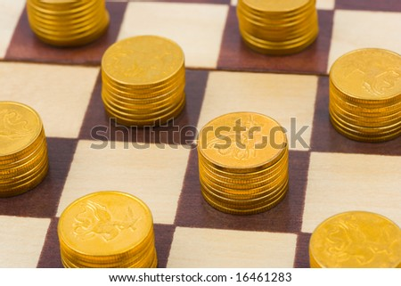 Money on chess board, concept business background - stock photo