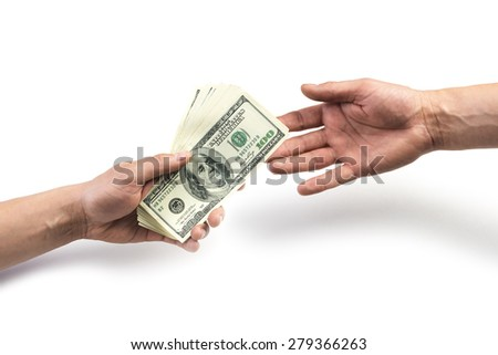money on hand isolated on white