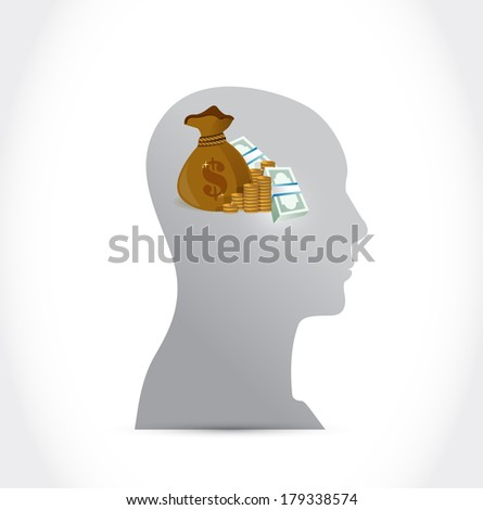money on my mind concept illustration design over a white background - stock photo