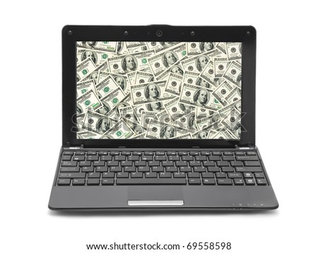 Money on notebook screen isolated on white background