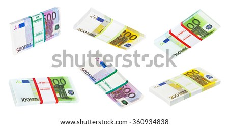 Money packs set isolated on white background - stock photo