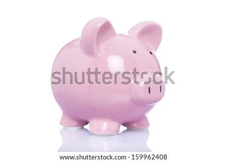 Money pig isolated on a white background - stock photo