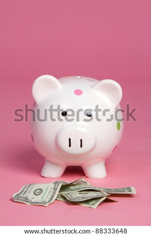 Money pig on pink background