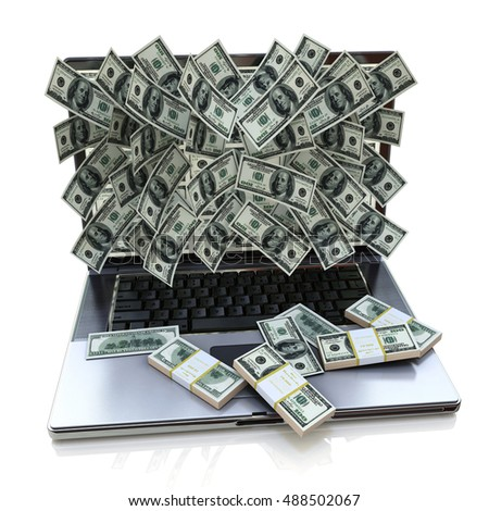 Money pouring out from laptop in the design of the information related to online earnings. 3d illustration